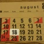 8月のショップスケジュール