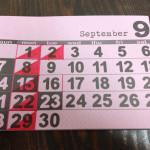 9月のショップスケジュール。